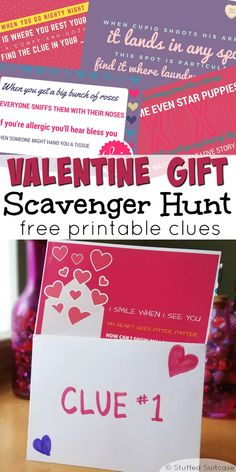 Valentines Scavenger Hunt - Free Printable Clues for Gift Treasure Hunt Surprise your kids on Valentine's Day by staging a valentines scavenger hunt. Print off these clues to lead your kids on a treasure hunt for their gift. Kinder Valentines, Valentines Surprise, Valentines Games, Valentines Gifts For Boyfriend, Valentines Day Party, Boyfriend Gifts, Valentine Gifts, Valentines Baking, 21st Birthday Checklist