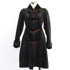 Victorian Winter COAT / Vintage 1890s Heavy Black Velvet Moha... More