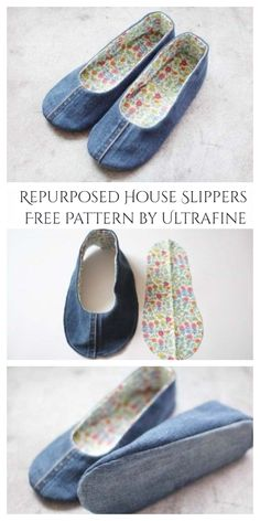 Trash To Couture, Sewing Slippers, Crochet Slippers, Crochet Shoes, Diy Jeans, Sewing Patterns Free, Free Sewing, Diy Kleidung Upcycling, Jean Diy