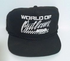 Vintage World of Outlaws MBNA Motorsports Black Trucker Hat Snapback SAN SUN #SanSun #Trucker Check out all of these ebay names for more amazing deals: http://www.ebay.com/usr/lostandfoundtreasuresbymedusa http://www.ebay.com/usr/medusamaire http://www.ebay.com/usr/maire1968