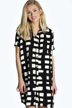 Debbi Woven Boxy Shirt Dress at boohoo.com