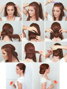 wedding hair style : wrapped chignon :by emily meyers