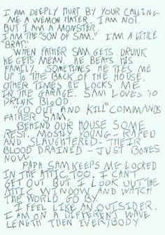 1st letter from Son of Sam killer, David Berkowitz.