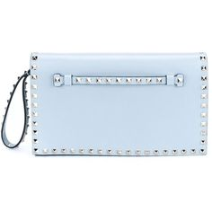 Valentino Garavani 'Rockstud' clutch ($1,670) ❤ liked on Polyvore featuring bags, handbags, clutches, lambskin handbag, blue purse, blue clutches, blue handbags and valentino handbags