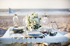 Cute table decor for a beach wedding!