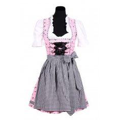 Licht roze Dirndl met zwarte bloemetjes en een zwart/wit geblokte rok.