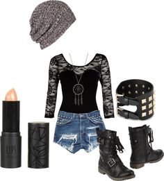 grunge outfit. Love those boots!