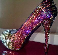 Rainbow rhinestone pump with corset detail on heel