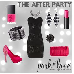 After Party, created by parklanejewelry on Polyvore    Park Lane Jewelry featured: Ravishing necklace, Night & Day earrings, Twilight ring & Rihanna bracelet