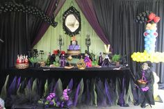 Disney Villain theme birthday party dessert table decorations idea children custom chair cover Cruella De Vil, Maleficent, Queen of Hearts, Ursula, Evil Queen,