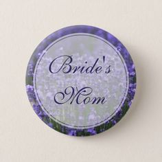 Personalized Bride\u0027s Mom Lavender Wedding Buttons & Bride Silhouette Lavender Paper Plate | Lavender Wedding Ideas ...