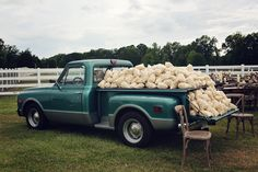 Vintage Truck full of popcorn bags. Outdoor Reception. Truck rented from Tom & Peggy Yates. Mary Kate and John Luke Robertson wedding. OAK weddings. Forest, MS