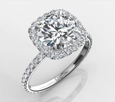 Harry Winston Inspired Ring - Round Center Stone in Cushion Halo Engagement Rings | Eternity By Yoni