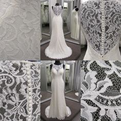 gown with lace illusion back and illusion neck