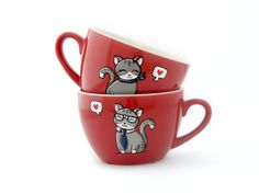Christams gift red tea cups with cats in love and by vitaminaeu, €20.00
