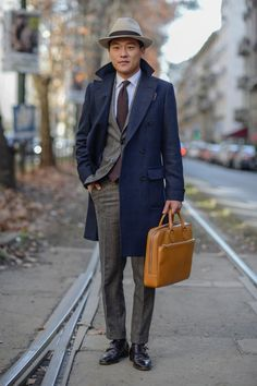 street style suit and hat