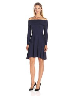 Loveappella Womens Long Sleeve Off Shoulder Fit and Flare Dress Maritime Blue XSmall * Be sure to check out this awesome product.