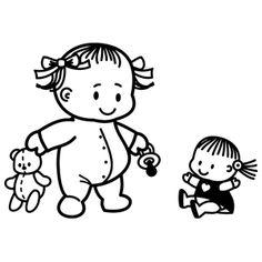 Bebé y muñeca- Vinilo Decorativo Infantiles