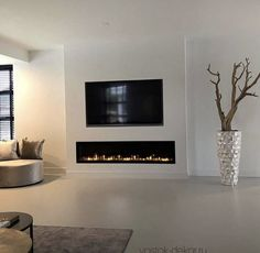 Living Room Decor Fireplace, Condo Living Room, Family Room Fireplace, Living Room Update, Home Fireplace, Feature Wall Living Room, Built In Electric Fireplace, Open Plan Kitchen Dining Living, Contemporary Fireplace Designs