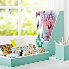 Mint Green/Aqua Blue // Printed Desk Accessories - Solid Pool with White Interior #pbteen