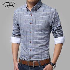 bd7f19ef8256f New 2017 Casual Men Shirt Cotton Linen Mens Dress Shirt Slim Fit Plaid  Shirts Plus Size