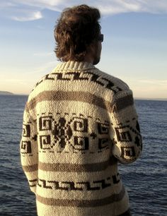This is a men's cardigan knit in Cascade Yarns Ecological Wool using stranded color work. It's worked all in 1x1 rib and has a zipper closure and a short row shawl collar.