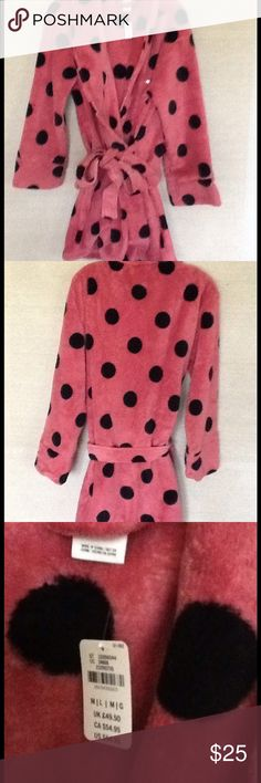 VIctoria Secrets Pink Robe Brand New mauve with black polka dots comfy robe, size M/L PINK Victoria's Secret Intimates & Sleepwear Robes