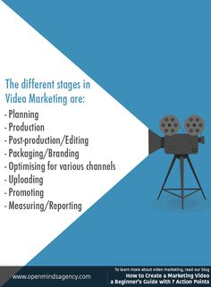 The different stages in Video Marketing are: - Planning - Production - Post-production/Editing - Packaging/Branding - Optimising for various channels - Uploading - Promoting - Measuring/Reporting To learn more about video marketing, read our blog:  [Click on the image] #omagency #video #marketing