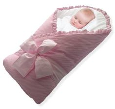 Baby Wrap - Swaddle - Baby Blanket - by BUNDLEBEE - Built In Removable Cushion for Neck and Back Support - 100% Cool Summer Cotton - Feather Light - Hypoallergenic - FREE beautiful packaging included - Newborns 0-4 months - Pink $39.95