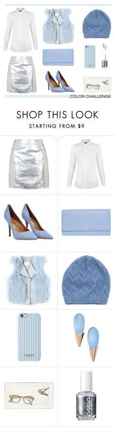 Silver + Serenity Color Challenge Contest by theclosetbychristie on Polyvore featuring Rebecca Taylor, Topshop, Salvatore Ferragamo, Smythson, Alexis Bittar, Johnstons of Elgin, Isaac Mizrahi, Essie and Kate Spade