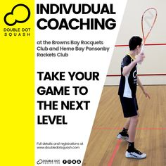 Want to take your game to the next level? Individual Coaching provides sessions focused on your specific skills set with sessions designed around your individual development, and will help you to improve your game at a faster rate. - Check out our Individual Coaching packages to find the best one for you at: www.doubledotsquash.com/coaching - #doubledotsquash #squash #brownsbayracquetsclub #hernebayracketsclub #brownsbay #hernebay #squashauckland #squashnz #squashnewzealand Squash Club, Play Squash, Double Dot, Goal Planning, Total Body, Are You The One, Improve Yourself, Competition, Athlete