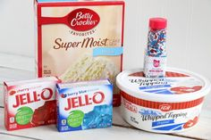 Show your American pride with this Patriotic Jello Poke Cake! Moist, delicious cake drizzled with sweet, colorful jello, all covered with whipped topping! Poke Cake Jello, Poke Cake Recipes, Jello Recipes, Poke Cakes, Layer Cakes, Delicious Recipes, Baking Recipes, Tasty, Easy Cakes To Make