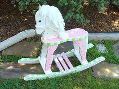 Rocking Unicorn, Rocking Horses, Window Frame Decor, Time Out Chair, Teddy Bear Birthday, Wooden Horse, Pink Cheetah, Carousel Horses, Animal Projects
