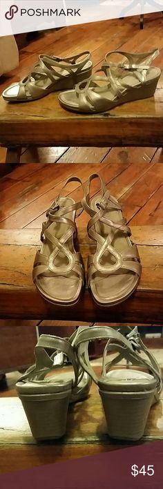 Ecco Touch 45 Wedge Sandals Moon Rock Sz 8-8.5 Ecco Touch 45 Wedge Sandals Moon Rock Sz 8-8.5 EUC Ecco Shoes Wedges