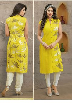 Gorgeous Yellow Cotton Straight Kurti / Kurta Salwar Pattern, Kurti Patterns, Dress Patterns, Simple Dresses, Casual Dresses, Fashion Dresses, Dress Neck Designs, Blouse Designs, Indian Dresses