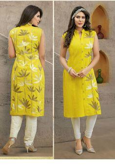 Gorgeous Yellow Cotton Straight Kurti / Kurta