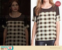 Lydia's checked top with black mesh on Teen Wolf. Outfit Details: http://wornontv.net/27425 #TeenWolf #fashion