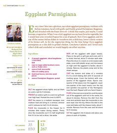 Rocco DiSpirito version of  Eggplant Parmigiana at just 13 grams of fat and 267 calories per serving!