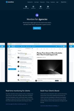 Mention Product Landing Page design example with mobile/desktop version screenshots and link to the original website. Saturns Moons, Landing Page Design, Use Case, Web Design Inspiration, Ui Design, Wordpress Theme, Software, Tech, Templates