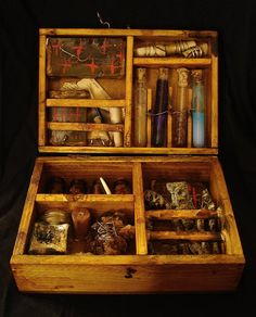 Witch Briefcase :: Artist Andrea Falaschi - (could be a neat combo idea - different body washes in test tubes, bath salts in jar of salt, and freaky shaped/named soaps for the right side. Wiccan, Magick, Witchcraft, Larp, Use E Abuse, Magic Box, Witch Aesthetic, Book Of Shadows, Occult