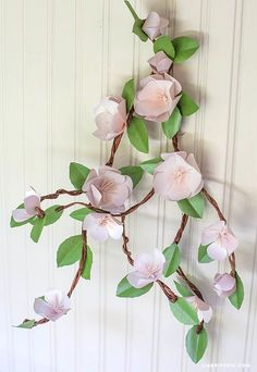 To celebrate Earth Day I wanted to add a pretty paper apple blossom branch to my dinner table and make something I can use again and again in many different ways.