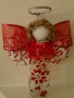 'Angelic' Bartles & Jaymes stenciled, painted bottle - ribbon, glue, pipe cleaner, styrofoam ball, bag or easter grass filler
