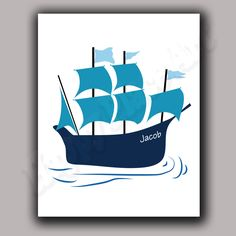Personalised Pirate Ship Print for Boy Bedroom Wall Art Decor 8x10
