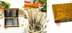 by FlyingSquirrelNest on Etsy Canteen, Blue Velvet, Cutlery, Silver Plate, Hand Carved, Carving, Tea, Pearls, How To Make