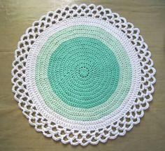 Minty green round Crochet rug - using zpagetti (t-shirt yarn). Baby room? Bathroom?