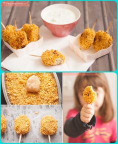 Nuggets de pollo al horno. Baby Food Recipes, Great Recipes, Healthy Recipes, Baked Chicken Nuggets, Recipe Steps, Baby Led Weaning, Kids Health, Healthy Eating, Lunch