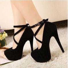 Pumps Platform Thin Heels  Cross Strap Women Shoes Size 34-42 - Stylish n Trendier - 7