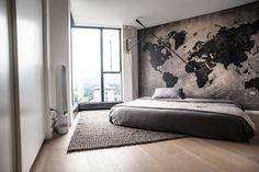 world map bedroom idea World Map Bedroom, Home Bedroom, Modern Bedroom, Bedroom Decor, Bedroom Storage, Interior Decorating, Interior Design, My New Room, House Design