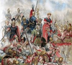 Aftermath of the battle of cynocesphalae 197 BC. The level of slaughter was high on the slope that the Macedonian phalanx held. Both sides contested this ground fiercely but the Roman infantry prevailed using their short swords with gruesome effect.