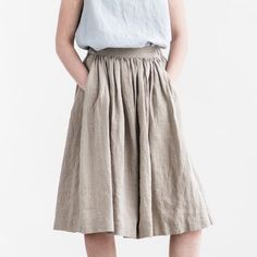 Linen skirt with deep pockets / A line washed linen skirt in Deepest Black, made a tad longer